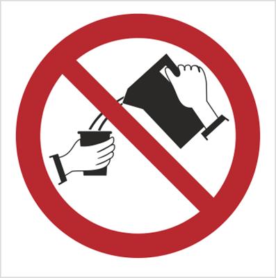 Znak Zakaz trzymania ręką kubków przy zalewaniu wrzątkiem (644)