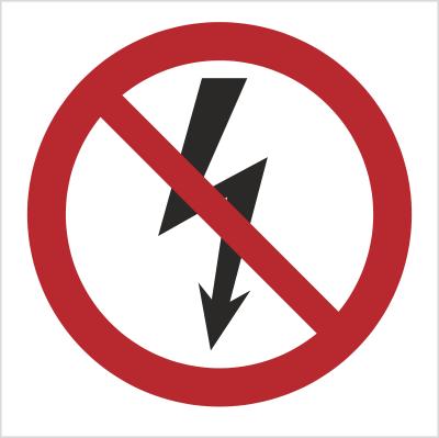 Znak Nie załączać urządzeń elektrycznych (bez opisu) (647)