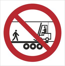 Obrazek dla kategorii Znak Zakaz przebywania na naczepie gdy w środku jest wózek transportowy (bez opisu) (650)
