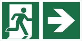Znak łączony wyjście ewakuacyjne ze strzałką