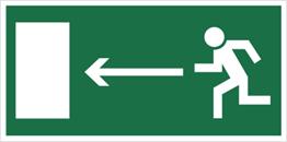 Kierunek do wyjścia drogi ewakuacyjnej (w lewo)