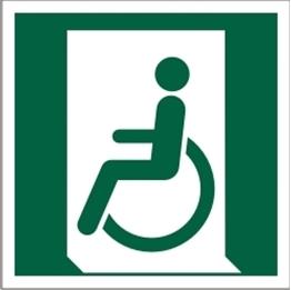 Obrazek dla kategorii Znak Wyjście ewakuacyjne dla osób niezdolnych do chodzenia lub z zaburzeniami chodzenia (po lewej) (E26)