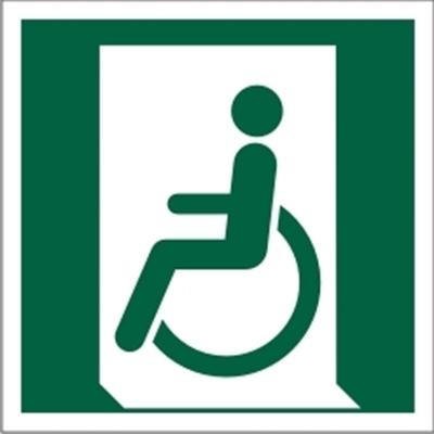 Znak Wyjście ewakuacyjne dla osób niezdolnych do chodzenia lub z zaburzeniami chodzenia (po lewej) (E26)