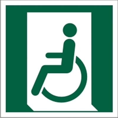 Znak Wyjście ewakuacyjne dla osób niezdolnych do chodzenia lub z zaburzeniami chodzenia (po lewej)(E26)