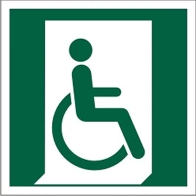 Znak Wyjście ewakuacyjne dla osób niezdolnych do chodzenia lub z zaburzeniami chodzenia (po prawej(E30)