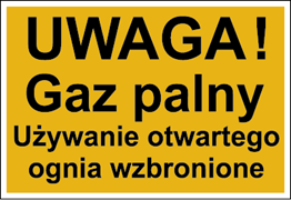 Obrazek dla kategorii Znak Uwaga! Gaz palny. Używanie otwartego ognia wzbronione (825)