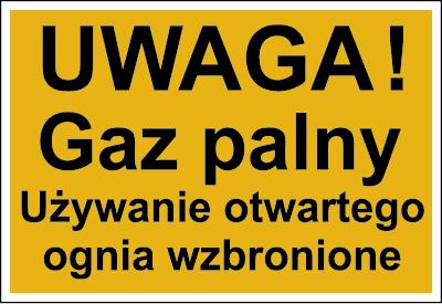 Znak Uwaga! Gaz palny. Używanie otwartego ognia wzbronione (825)
