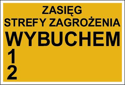 Znak Zasięg strefy zagrożenia wybuchem 1, 2 (827-01)