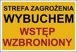 Obrazek dla kategorii Znak Strefa zagrożenia wybuchem. Wstęp wzbroniony (827-02)