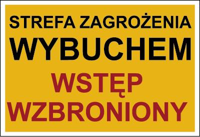 Znak Strefa zagrożenia wybuchem. Wstęp wzbroniony (827-02)