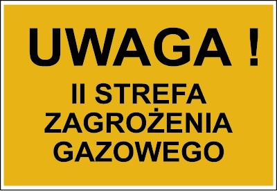 Znak Uwaga! II strefa zagrożenia gazowego (828-05)