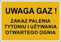 Obrazek dla kategorii Znak Uwaga gaz! Zakaz palenia tytoniu i używania otwartego ognia (828-07)