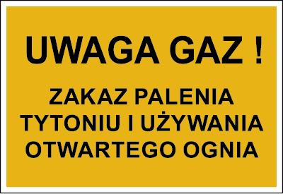 Znak Uwaga gaz! Zakaz palenia tytoniu i używania otwartego ognia (828-07)