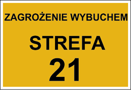 Obrazek dla kategorii Znak Zagrożenie wybuchem strefa 21 (828-18)