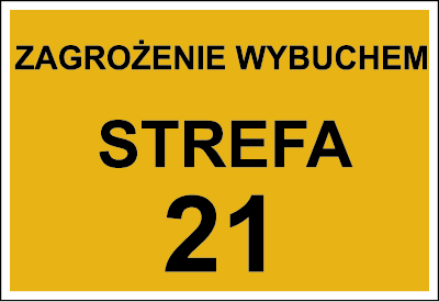 Znak Zagrożenie wybuchem strefa 21 (828-18)