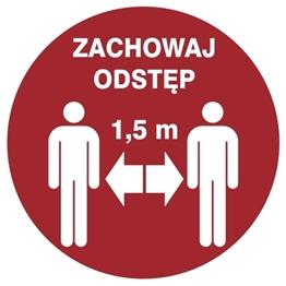 Obrazek dla kategorii Znak Zachowaj odległość 1,5 m (857-48) Okrągły