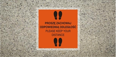 Znak Zachowaj odpowiednią odległość - Please... (ANTY016)