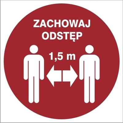 Znak Zachowaj odległość 1,5m (857-50)