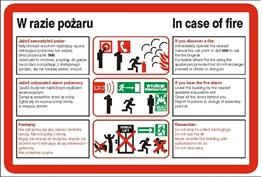 Obrazek dla kategorii Znak Instrukcja postępowania w razie pożaru (222 XK-03)