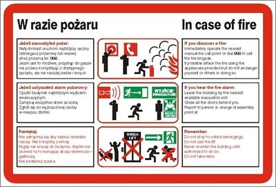 Znak Instrukcja postępowania w razie pożaru (222 XK-03)