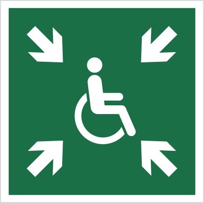 Znak Miejsce zbiórki dla inwalidów (E24)