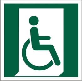 Obrazek dla kategorii Znak Wyjście ewakuacyjne dla osób niezdolnych do chodzenia lub z zaburzeniami chodzenia (po prawej) (E30)