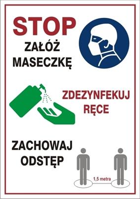 STOP załóż maseczkę, zdezynfekuj ręce (857-52)